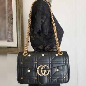 Gucci Marmont Pearl Black Crossbody Small Handbag
